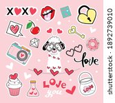 valentine's day items... | Shutterstock .eps vector #1892739010