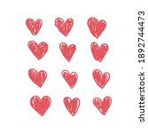 doodle hearts  hand drawn love... | Shutterstock .eps vector #1892744473