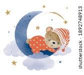 cute little teddy bear sleeping ... | Shutterstock .eps vector #1892748913