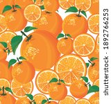 seamless pattern with orange on ... | Shutterstock . vector #1892766253