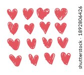 doodle hearts  hand drawn love... | Shutterstock .eps vector #1892806426