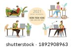 work from home people at home... | Shutterstock .eps vector #1892908963