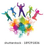background with jumping and...   Shutterstock .eps vector #189291836