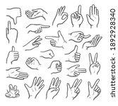 hands gestures. human pointing...   Shutterstock . vector #1892928340