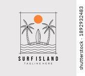 surfing island line art logo...