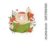 a funny cat is reading a book.... | Shutterstock .eps vector #1892986960