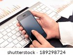 leader contacting his business... | Shutterstock . vector #189298724