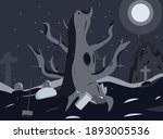 mystical tree in the cemetery.... | Shutterstock .eps vector #1893005536