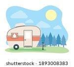 camper trailer at forest... | Shutterstock .eps vector #1893008383