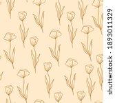 poppy flower pattern in line...   Shutterstock .eps vector #1893011329