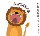 cute cartoon lion with open... | Shutterstock .eps vector #1893015196