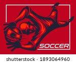 soccer goalkeeper poster in red ...   Shutterstock .eps vector #1893064960