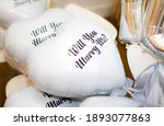 heart shape white balloons with ... | Shutterstock . vector #1893077863