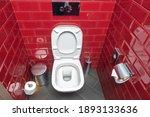 Toilet With White Toilet Bowl...