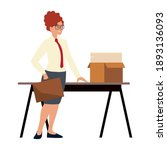 business woman with briefcase...   Shutterstock .eps vector #1893136093