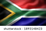 Close Up Waving Flag Of South...