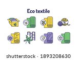 eco textile color line icons...