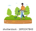male treasure hunter with metal ... | Shutterstock .eps vector #1893247843