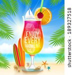 huge glass with exotic cocktail ... | Shutterstock .eps vector #189327518