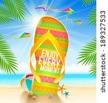 multicolored huge flip flop... | Shutterstock .eps vector #189327533