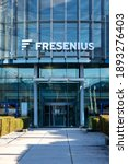 Small photo of Bad Homburg, Hessen, Germany, january 10th 2021. Entrance of a Fresenius building Health group with products and services for dialysis, hospital and outpatient care. Horizontal