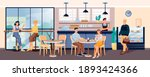 people in cafe with coffee and... | Shutterstock .eps vector #1893424366