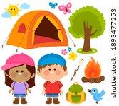 children in a camping site....   Shutterstock . vector #1893477253