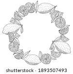 wreath of lemon in black with... | Shutterstock .eps vector #1893507493