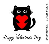 happy valentines day. black cat ... | Shutterstock .eps vector #1893559276