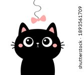 cat head face looking at bow...   Shutterstock .eps vector #1893561709