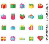 presents flat icons set....