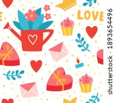 romantic seamless pattern with... | Shutterstock .eps vector #1893654496