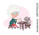 grandmother is drinking tea...   Shutterstock . vector #1893702223