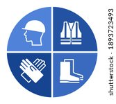 ppe required caution sign in... | Shutterstock .eps vector #1893723493