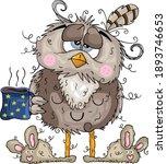 cute sleepy owl drinking coffee   Shutterstock .eps vector #1893746653