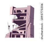 destroyed building  damaged... | Shutterstock .eps vector #1893773206