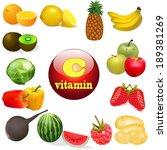 illustration vitamin c in foods ...   Shutterstock . vector #189381269