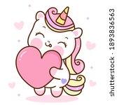 cute unicorn vector hug heart... | Shutterstock .eps vector #1893836563