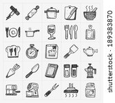 doodle kitchen icons | Shutterstock .eps vector #189383870
