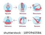 yoga color line icons set....