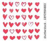 set of red hearts. drawn shape...   Shutterstock .eps vector #1893984883