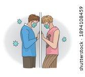 couple mask. gay couple wearing ...   Shutterstock .eps vector #1894108459