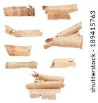 set wood shavings isolated on... | Shutterstock . vector #189415763