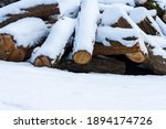 Stack Of Firewood Covered With...