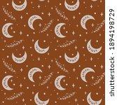 boho moon pattern. ethnic moon...   Shutterstock .eps vector #1894198729