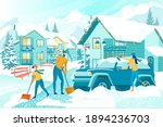 removing deep snow after... | Shutterstock .eps vector #1894236703