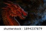 Fantasy  Red Dragon Head  ...