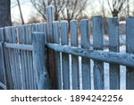 Frosted Fence In Winter In The...