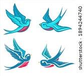 cartoon flying color swallow...   Shutterstock .eps vector #1894244740