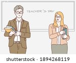 happy teacher's day. male and... | Shutterstock .eps vector #1894268119